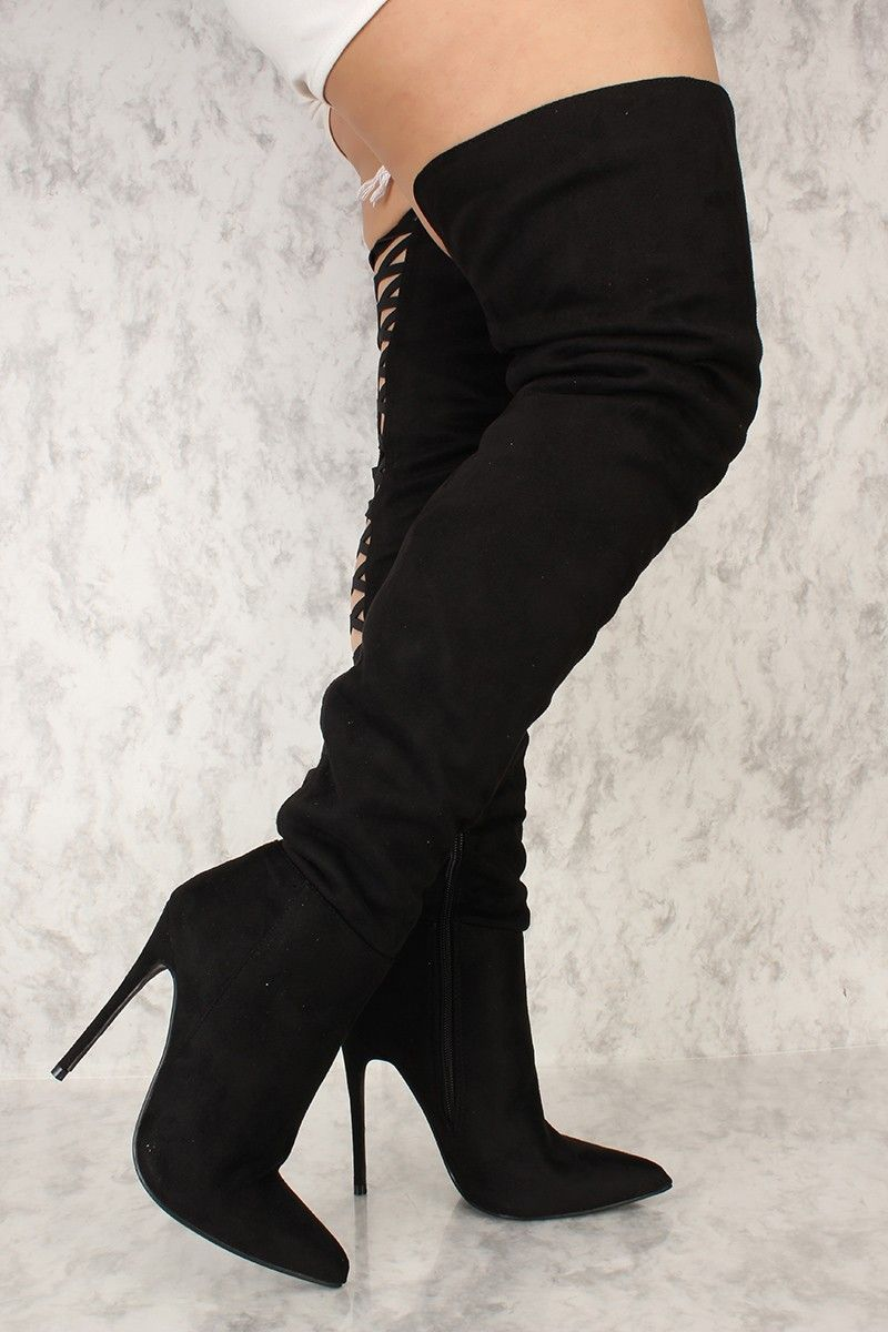 c7af1a4af22 Sexy Black Thigh High Boots Back Strap Faux Suede