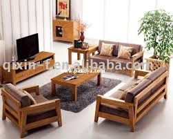 Резултат слика за simple wooden sofa sets for living room ...