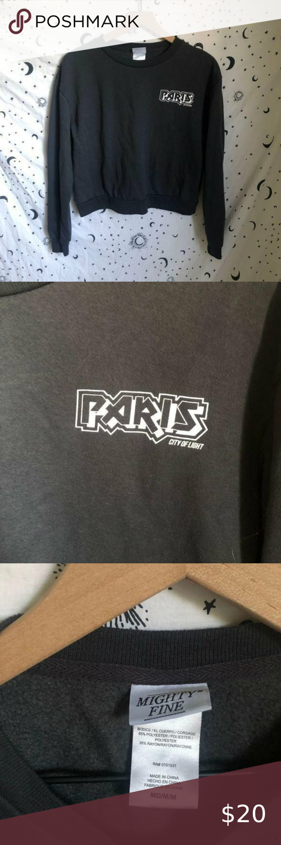 Paris Dark Gray Cropped Crewneck Sweatshirt Worn But In Perfect Condition Soft And Comfortable Fleece Linin Crew Neck Sweatshirt Cropped Crewneck Sweatshirts [ 1740 x 580 Pixel ]
