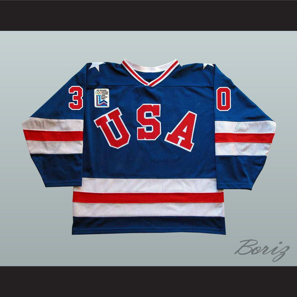 1980 Miracle On Ice Team Usa Jim Craig 30 Hockey Jersey Blue With Patch Stitch Sewn Graphics Custom Back Name Cust Online Sports Store Team Usa Hockey Jersey
