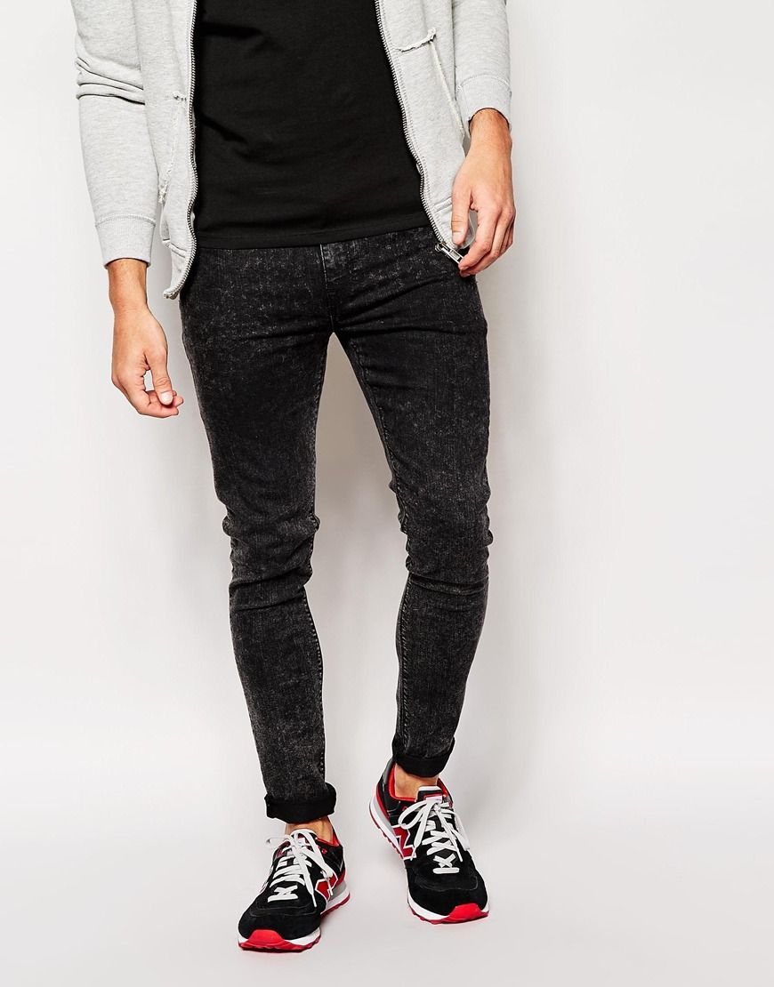 Clearance How Much Super Skinny Jeans In Washed Black - Grey Asos Outlet Store Online Newest Sale Online Discount Cheap Sale New Styles vgY3qPM