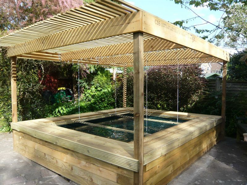 Raised railway sleeper pond ponds pinterest jardines for Koi pool thornton