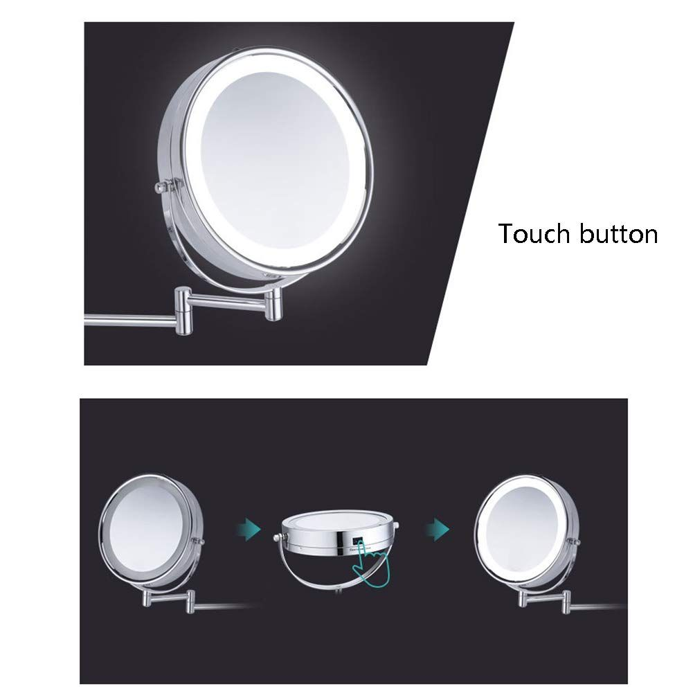 Mirror Makeup Led Light Wall Mounted Doublesided 8 5 Inch 360aº Swivel Extendable Bath Spa Hotel 10x 1x Magnification Hmyh Learn More By Visiti Bath Spa Hotel