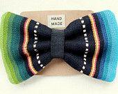 Handmade Black Serape Clip On Hair Bow. love these!