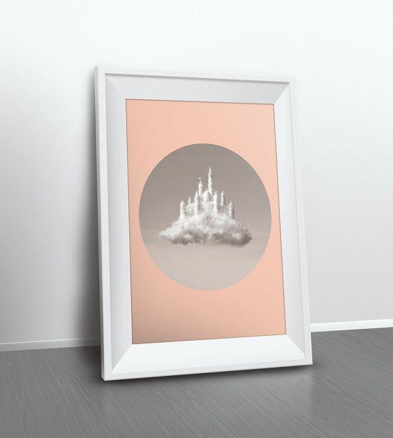 Wolken Fotografie / geometrische Print / Kinderzimmer