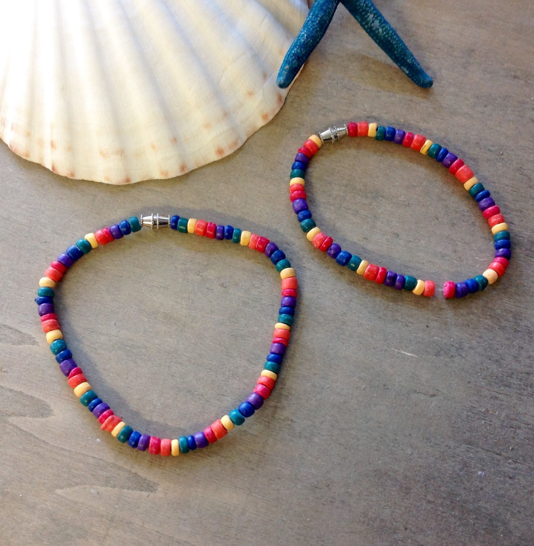06c519304 Our Rasta Bracelets and Anklets are made from Coconut Shells and Seashells.  Bamboo Color- Seashell All other colors are Coconut Shell Approximate Size   ...