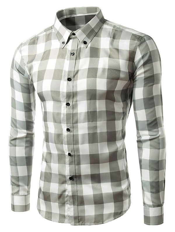 afd094badfc6  11.36 Slim Fit Long Sleeve Grid Button-Down Shirt    Stylish for ...