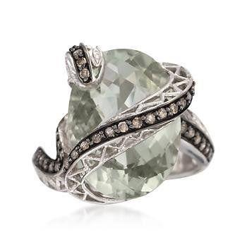 10.00ct Green Amethyst, .39ct t.w. Multicolored Diamond Snake Ring Ross-Simons. $285.00