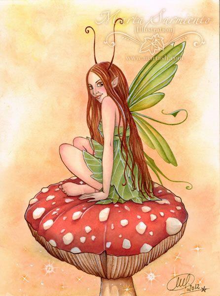 """Pixie on Mushroom I"" • © Marta Sarmiento, 2012 • www.martash.com"