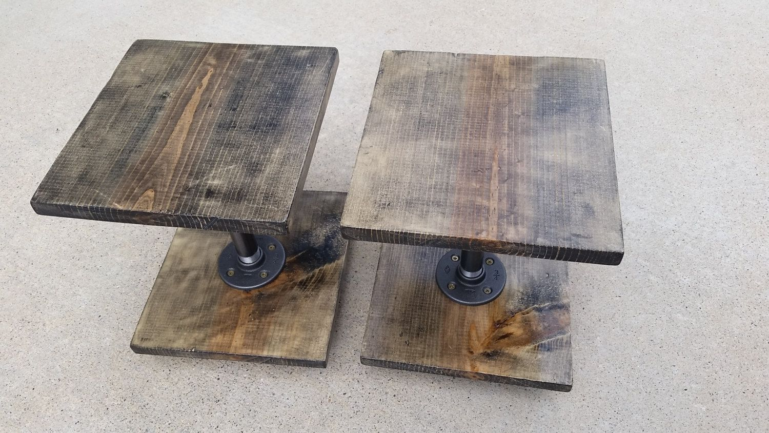 Custom stained wood speaker stands, large monitor speakers