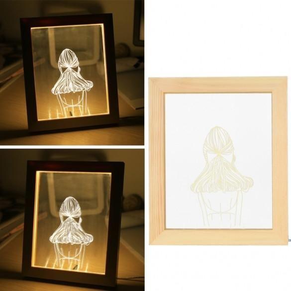 3D LED Light Wood Picture Frame Desk Lamp Room Decoration USB Night ...