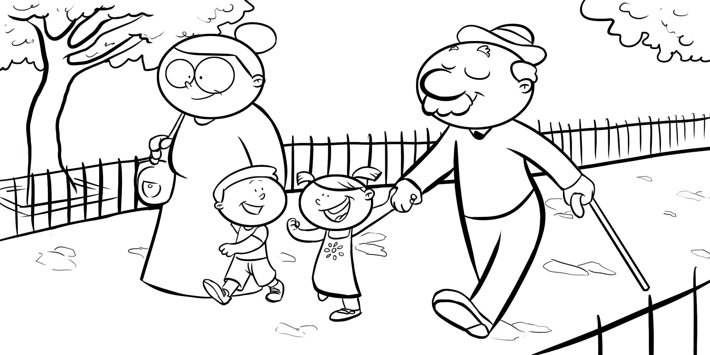 Colorear abuelos dando un paseo con sus nietos  abuelos