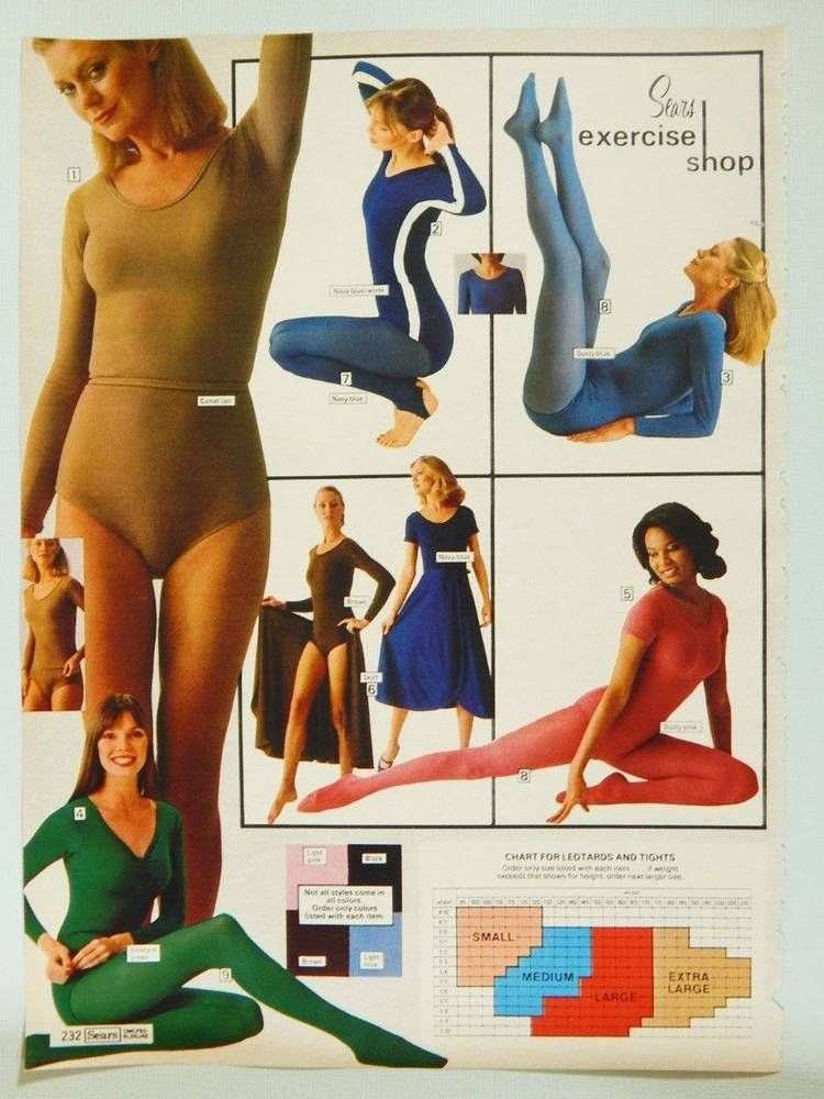 27636d900593c Sears Women's Exercise Wear Vintage 1978 Catalog Page / Ad - Tights &  Leotards #Sears