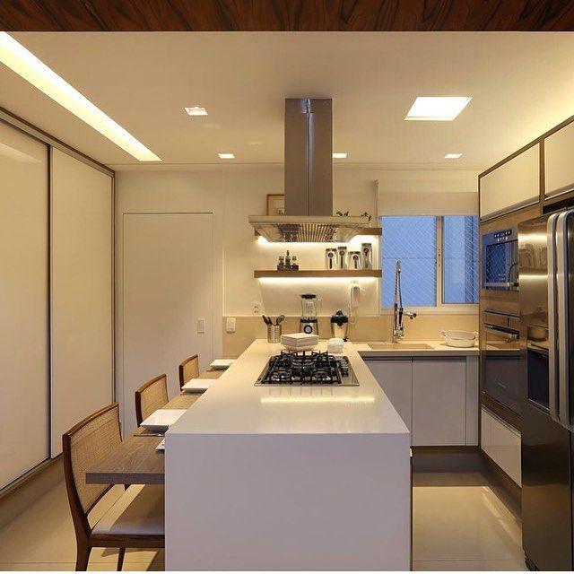 Cozinha L Ilha Com Cooktop E Bancada Para Pequenas
