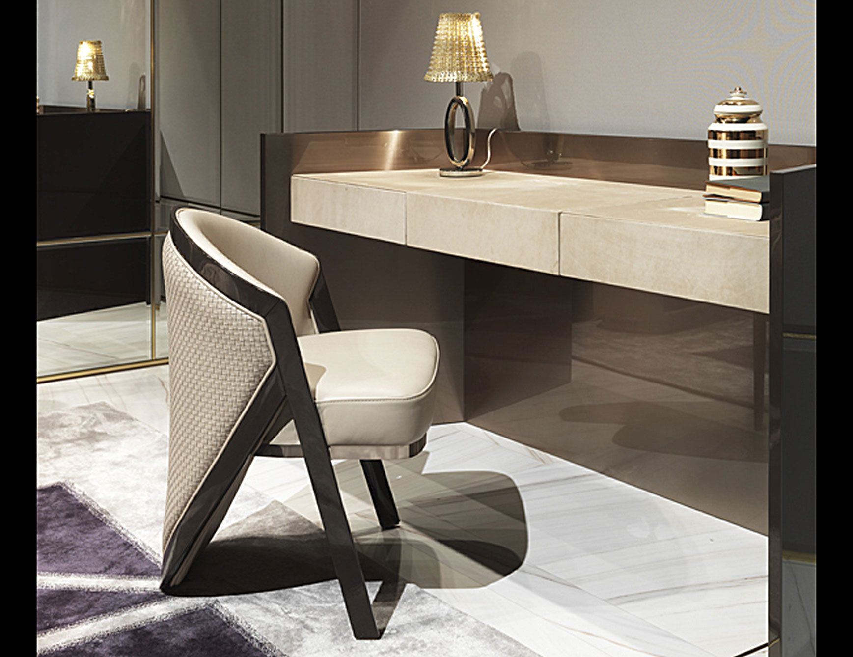 Mobili Betulla ~ Danny luxury italian make up desk shown in betulla upholstered