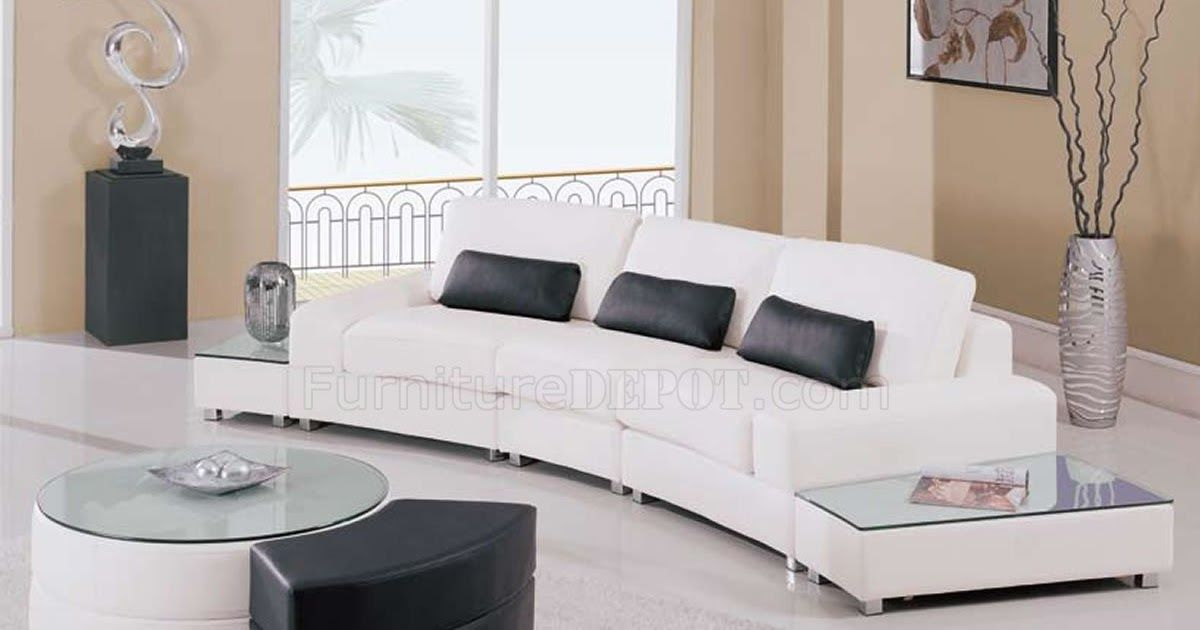 White Leather 5pc Modern Sectional Sofa