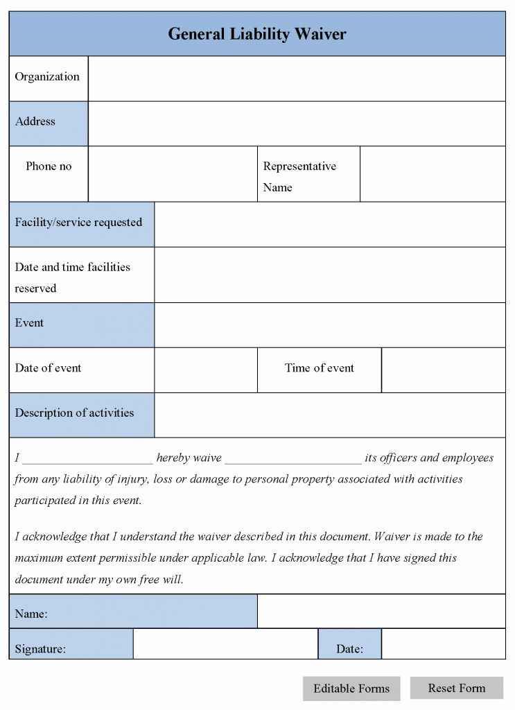 Liability Release form Template Luxury Free Printable
