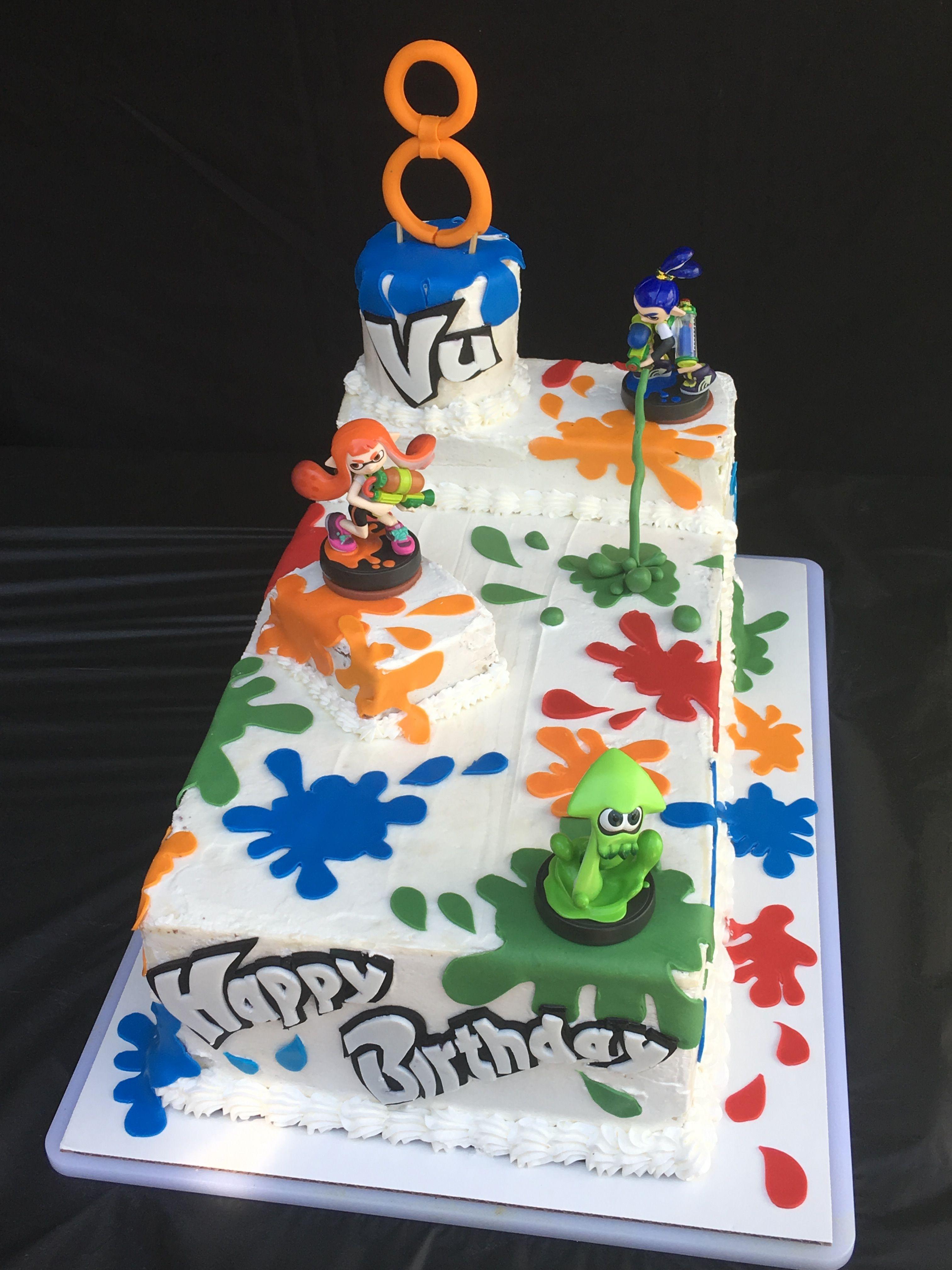 8th Birthday Cake Splatoon Cake In 2019 8th Birthday