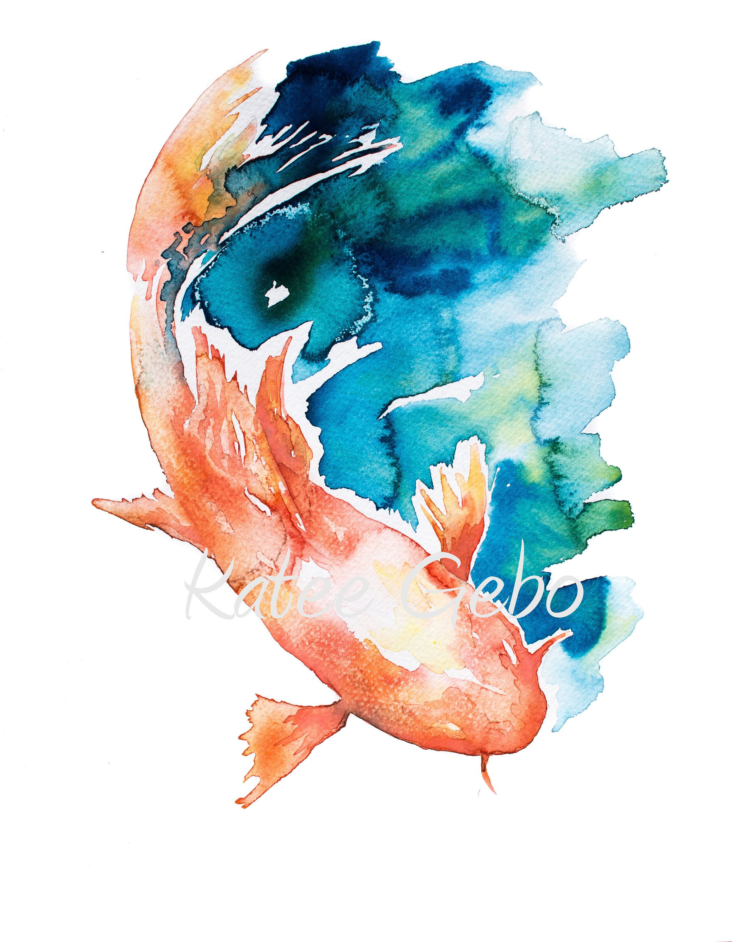 4f2d56c74 Blue and Orange Watercolor Painting, INSTANT PRINTABLE DIGITAL download,  Japanese Style Koi Fish Painting, Koi Fish Wall Art, Koi Art Print by ...