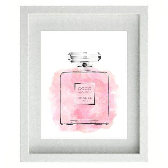 SALE -50% Coco Chanel/Chanel parfum// Chanel   illustration/ Typography Chanel/ Printable parfum/ poster Chanel watercolor