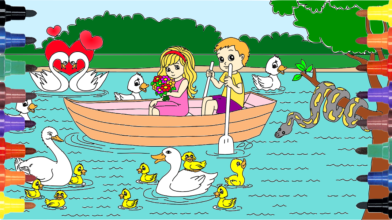 How To Draw Beautiful Girl And Boy On A Boat, Coloring Pages, Kids ...