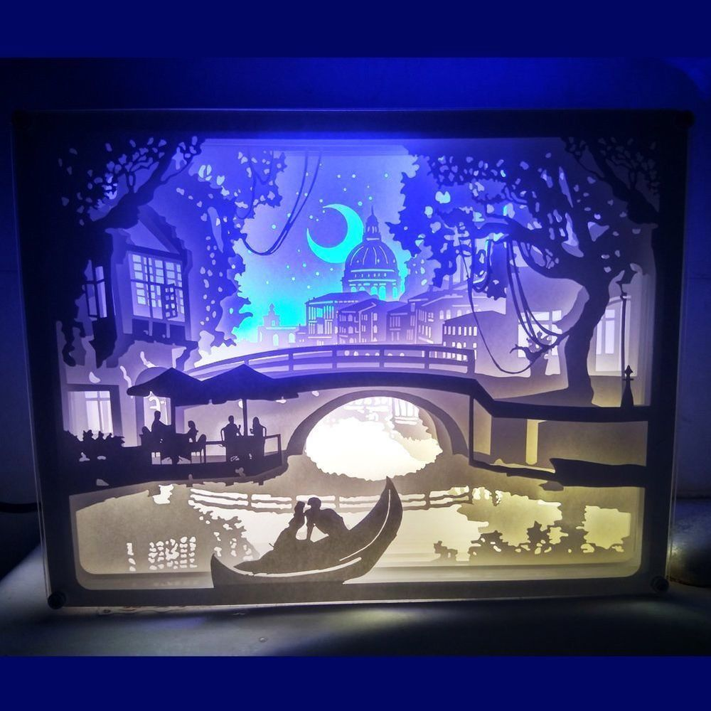 3d Shadow Box Led Night Light Papercut Light Box Remote Control Night Of Venice Broshan Paper Crafts Diy Crafts With Pictures Paper Art Craft