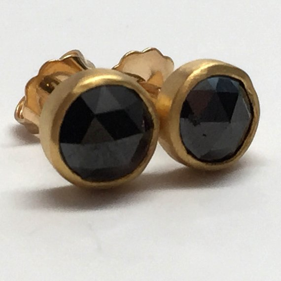bd51c0fdf Black Diamond Earring Studs 22K Solid Yellow Gold, Genuine Rose Cut  Diamonds 18K Friction Backs & Po