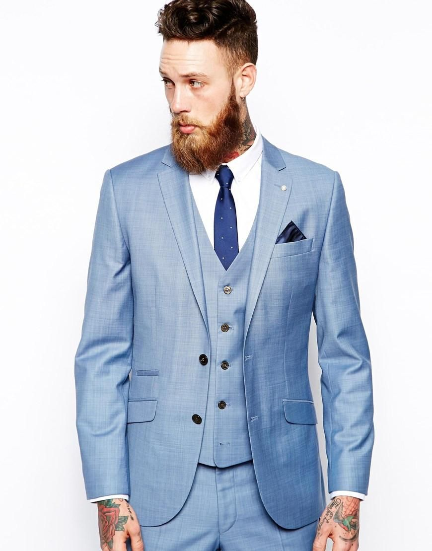 Italian Style Light Blue Groom Tuxedos Slim Fit Tailor Made Mens ...