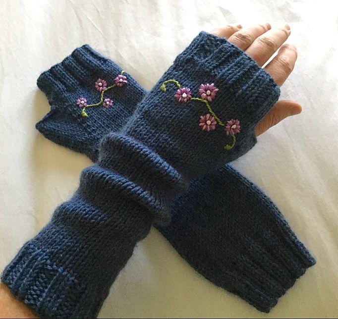 Photo of Bestickte fingerlose Handschuhe …