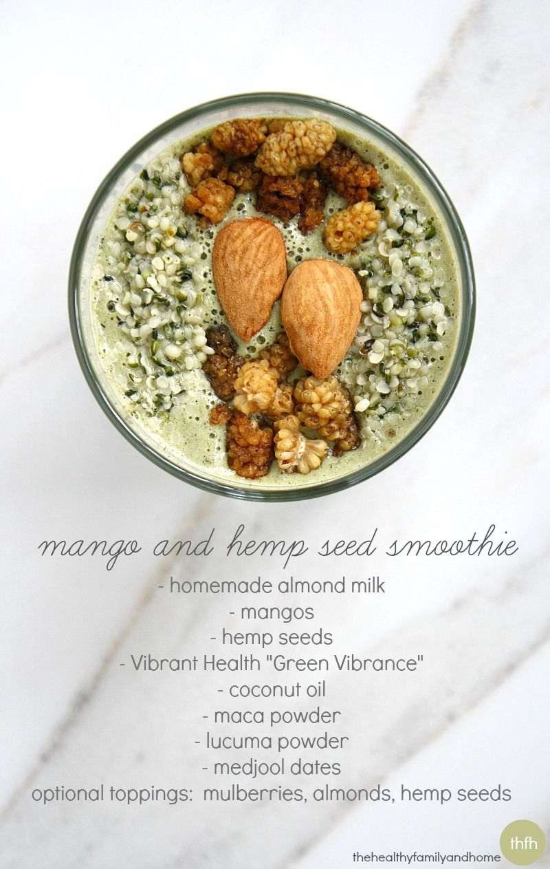 Clean Eating Mango and Hemp Seed Smoothie...vegan, gluten-free, dairy-free, paleo-friendly and contains no refined sugar   The Healthy Family and Home
