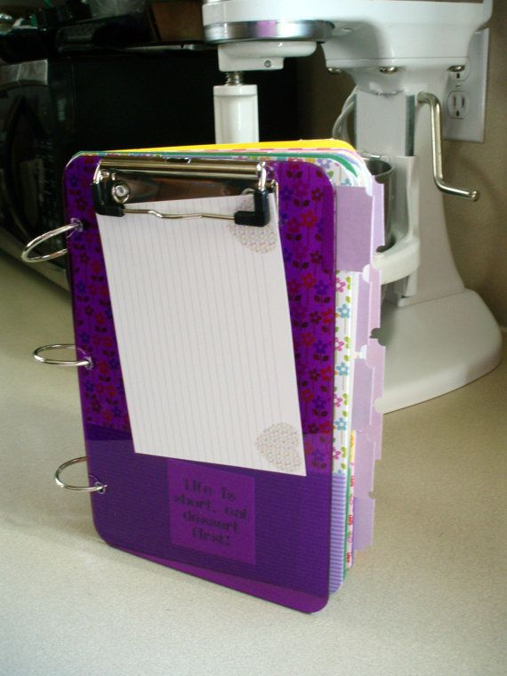 Clipboard Recipe Organizer RM 011 by OurMomsTouch on Etsy, $49.00 I like this idea..but its more to the scrapbooking idea I told you about