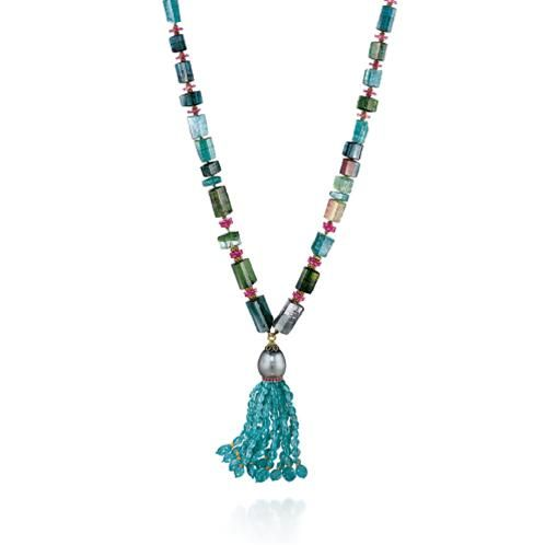 Verdura | blue and green tourmaline, ruby, apatite, Tahitian pearl and gold, | NECKLACES | BEAD | Raja Tassel Necklace