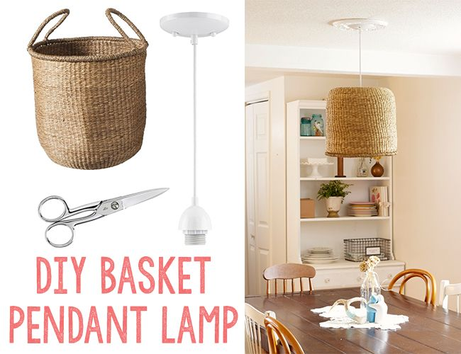 Diy Basket Pendant Lamp From At Home In Love Inspired By This Home Diy Diy Basket Diy Pendant Light