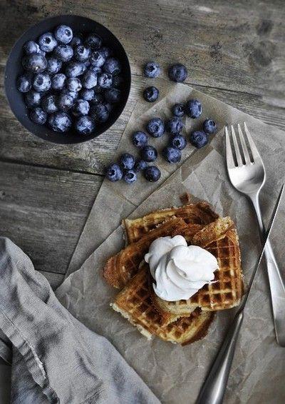 Waffle + blueberry + whip.