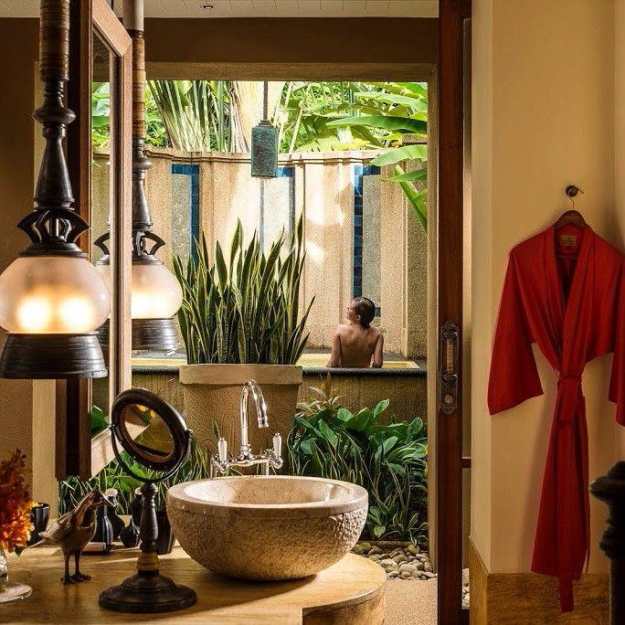Balinese Beach Pavillion Honeymoon Natural Spa Restort Sea Shower Curtain Set