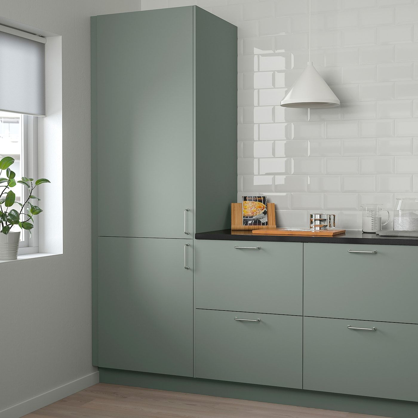 Bodarp Door Gray Green 15x15 Green Cabinets Green And Grey
