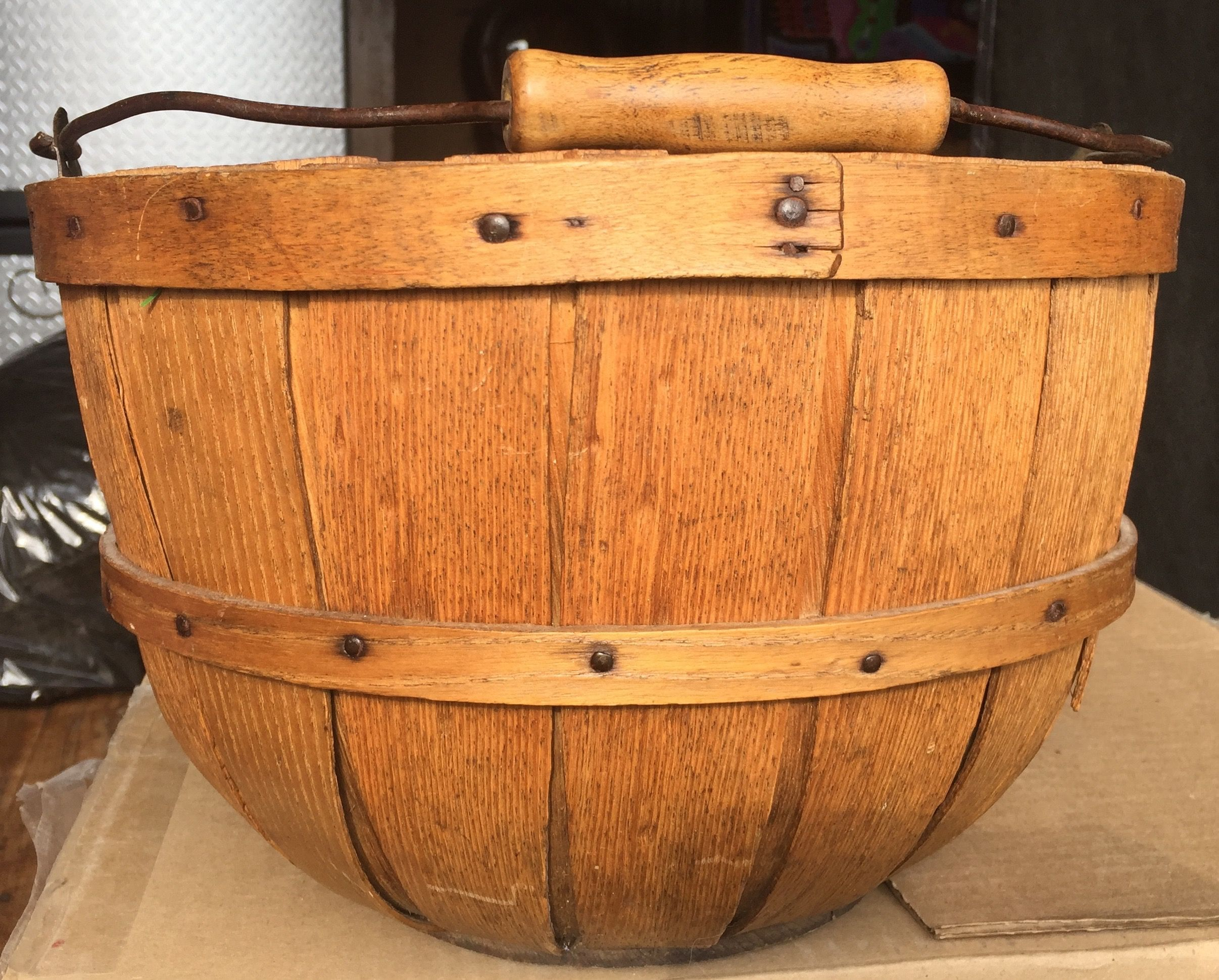 Antique apple basket bail handle country antiques