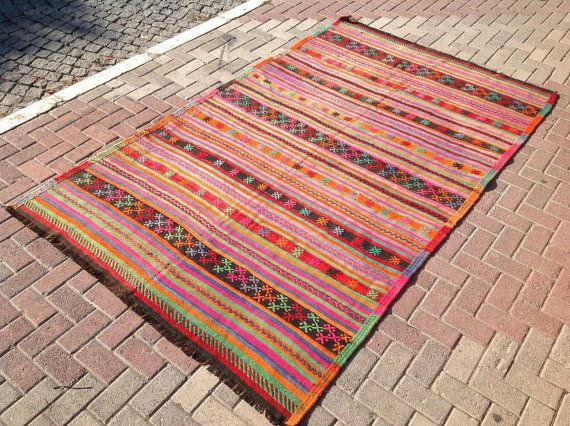 Kilim rug Green and pink area rug 109 x 66 Vintage by PocoVintage