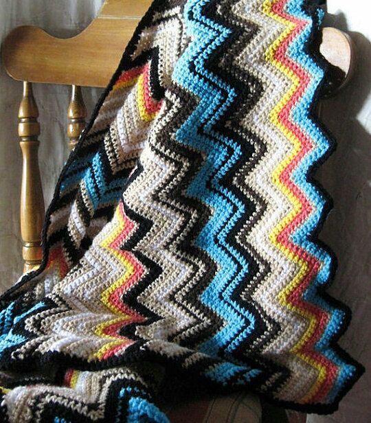 Missoni Inspired Blanket Crochet Afghan Zig Zag by MaybeLemon, $125.00