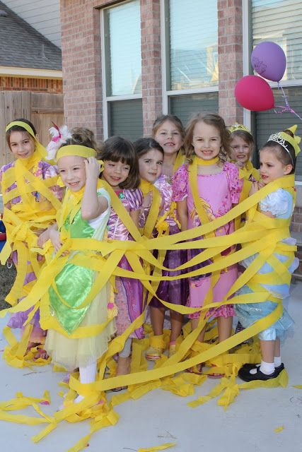 Rapunzel birthday party   the paquettes -great idea tangle up each of the kids!!!