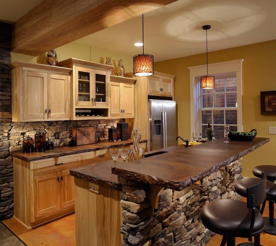 Outstanding rustic kitchen island table with natural stone for Island cabinet plans