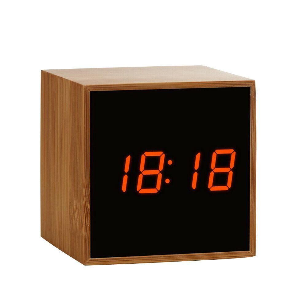 Digital Led Bamboo Alarm Clock Wooden Square Clock Multifunctional J7a2 Fashion Home Garden Homedcor Clocks Eba Square Clocks Alarm Clock Clock