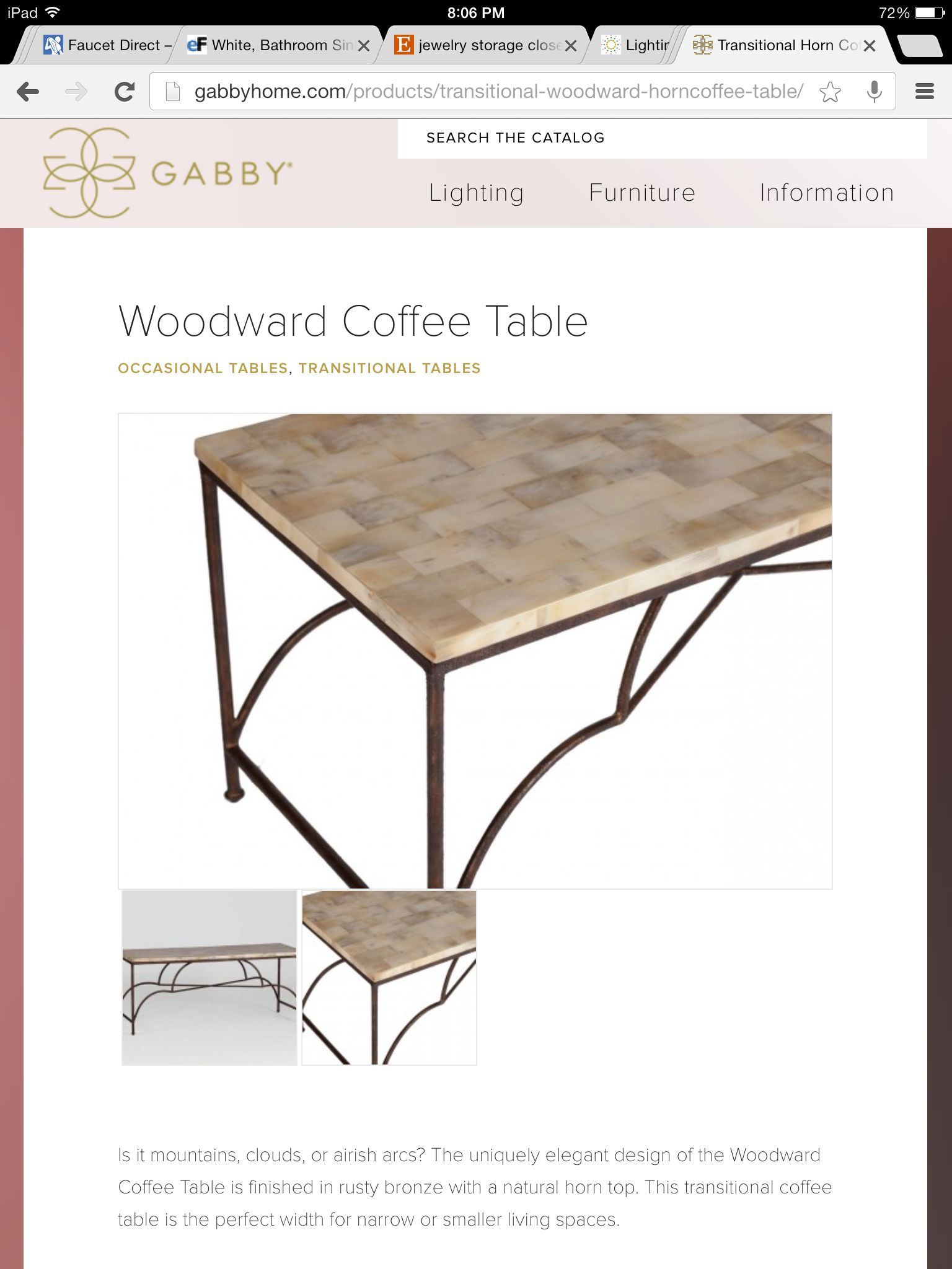 Gabby coffee table natural horn and metal base