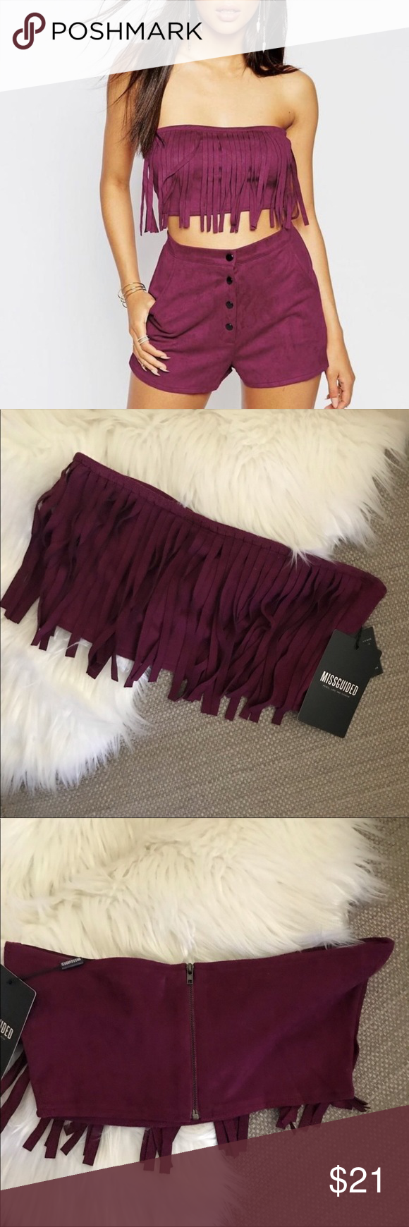 Missguided Fringe Stretch Faux Suede Crop Top Burgundy color Faux suede  Underarm to underarm across laying flat 14 inches Length 6.5 Inches  Zip back closure Very stretchy  Great Condition  Thank You For Shopping My Closet ❤️ Missguided Tops Crop Tops