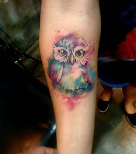 The Cutest Watercolor Owl Tattoo Ever Watercolor Owl Tattoos