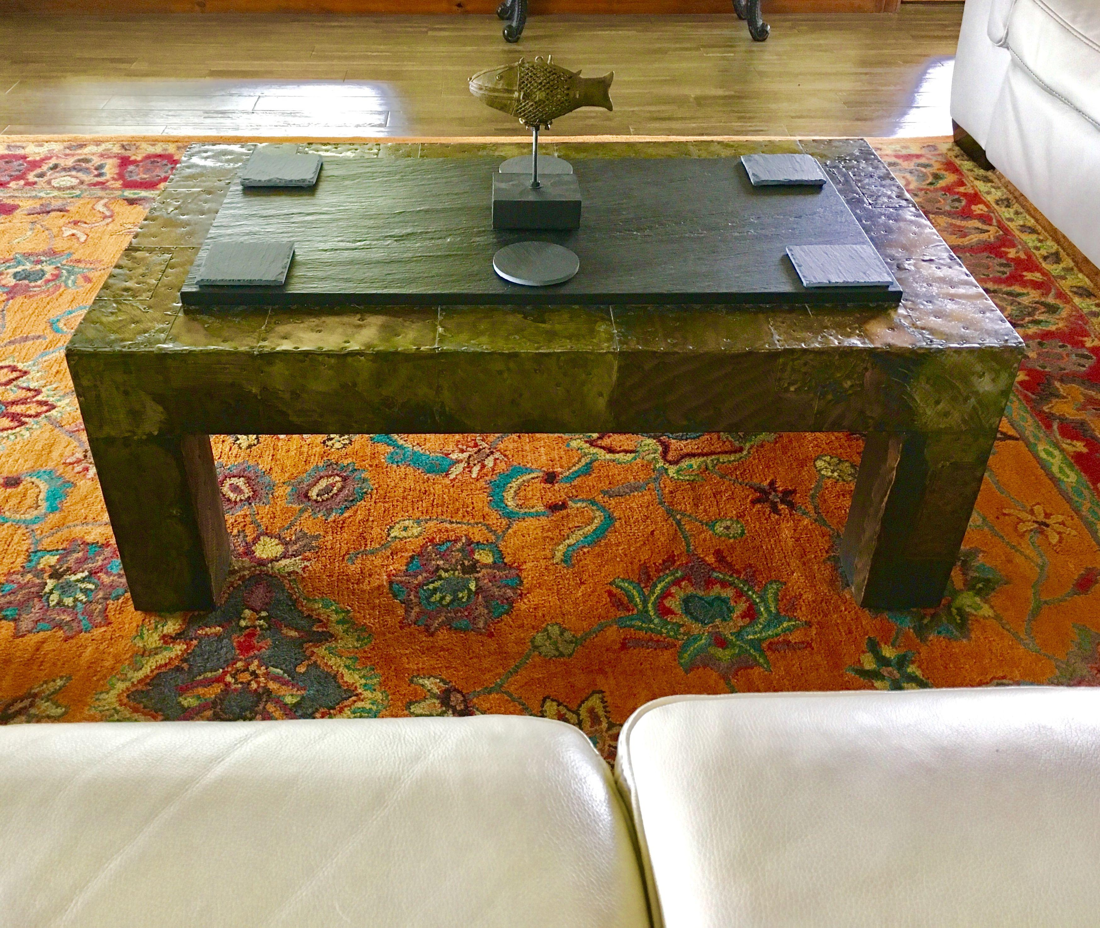 1960s vintage paul evans patchwork metal coffee table