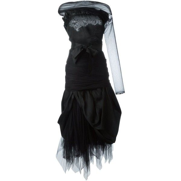 Romeo Gigli Vintage Organza Tulle Dress ($1,005) ❤ liked on Polyvore featuring dresses, black, tulle cocktail dress, romeo gigli, organza dress, organza cocktail dress and bow dress