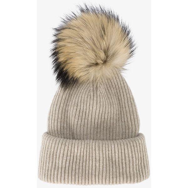 Pink Ribbed Cashmere Hat with Fur Pom Pom inverni BU8iO1HQN