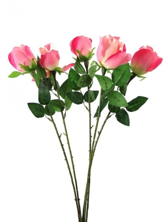 Synthetic Single Rose Set Of 4 Pink Artificial Flowers Flowers Online Flower Decorations