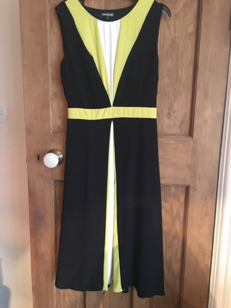 7d35f6ad3c083 Debenhams The Collection Black White Yellow Dress Size 12  fashion  clothing   shoes  accessories  womensclothing  dresses (ebay link)